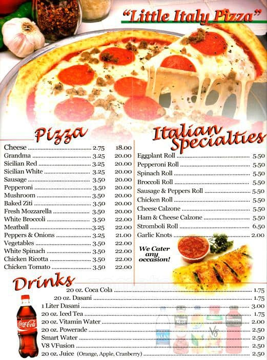 little italy pizza 3 menu menu for little italy pizza 3 greenwich village new york city. Black Bedroom Furniture Sets. Home Design Ideas
