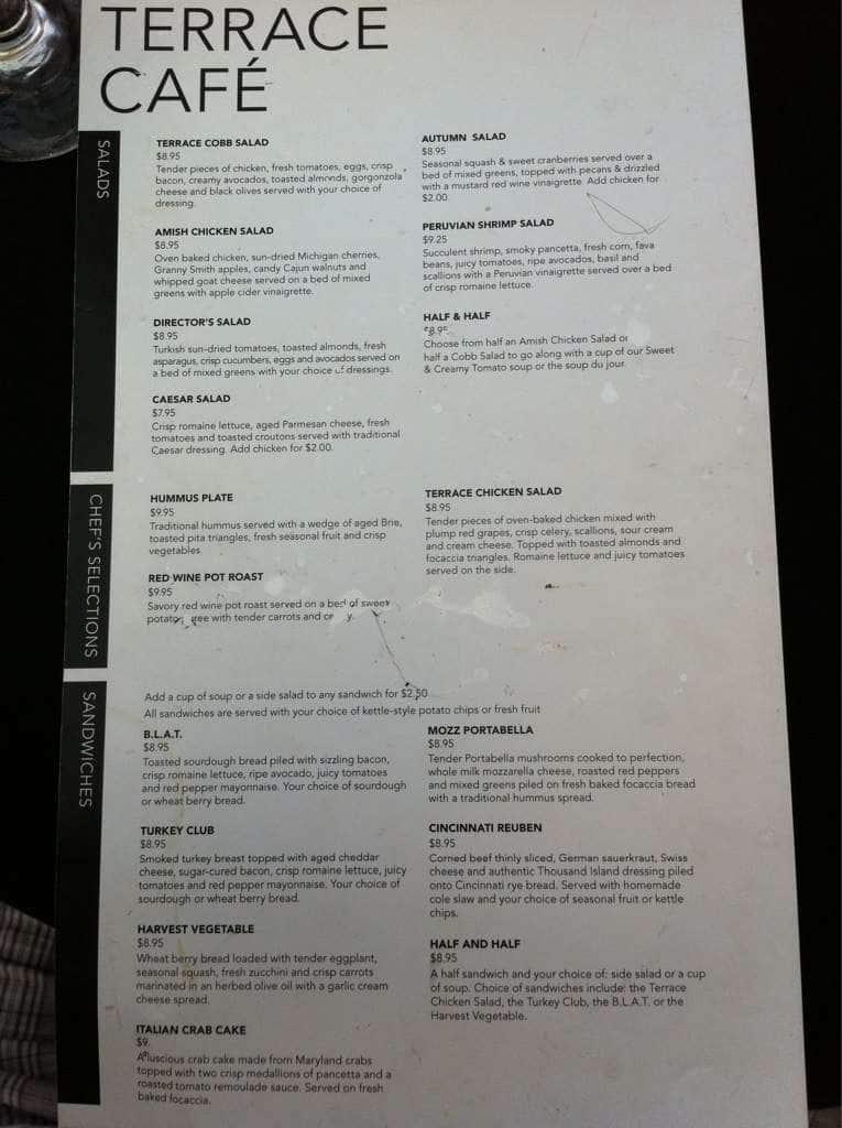 Terrace cafe menu menu for terrace cafe walnut hills for Terrace restaurant menu