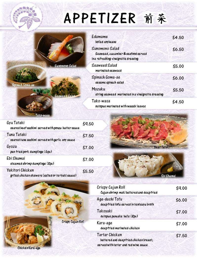 Yuzen japanese restaurant menu urbanspoon zomato for Asian cuisine menu
