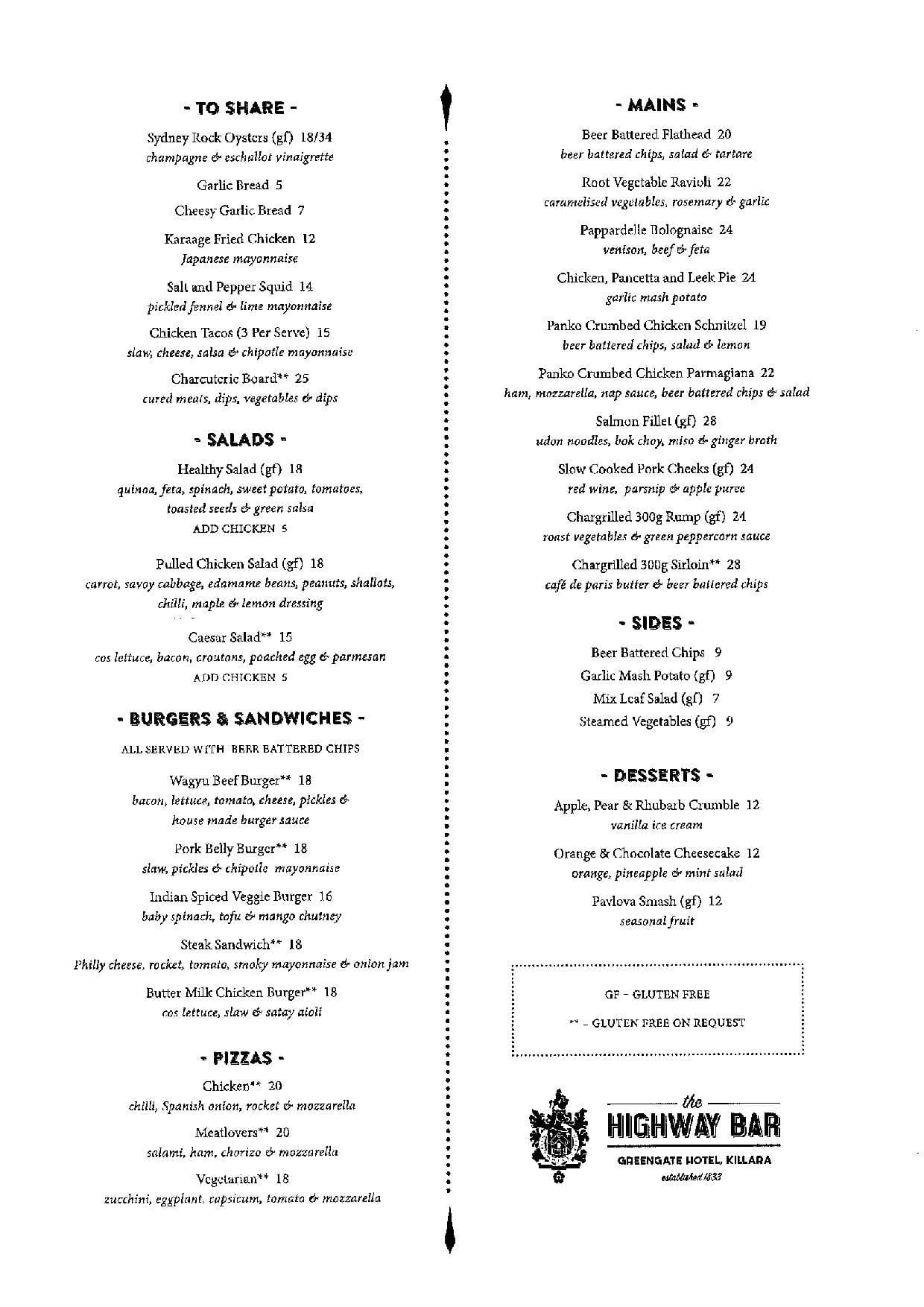 greengate hotel menu