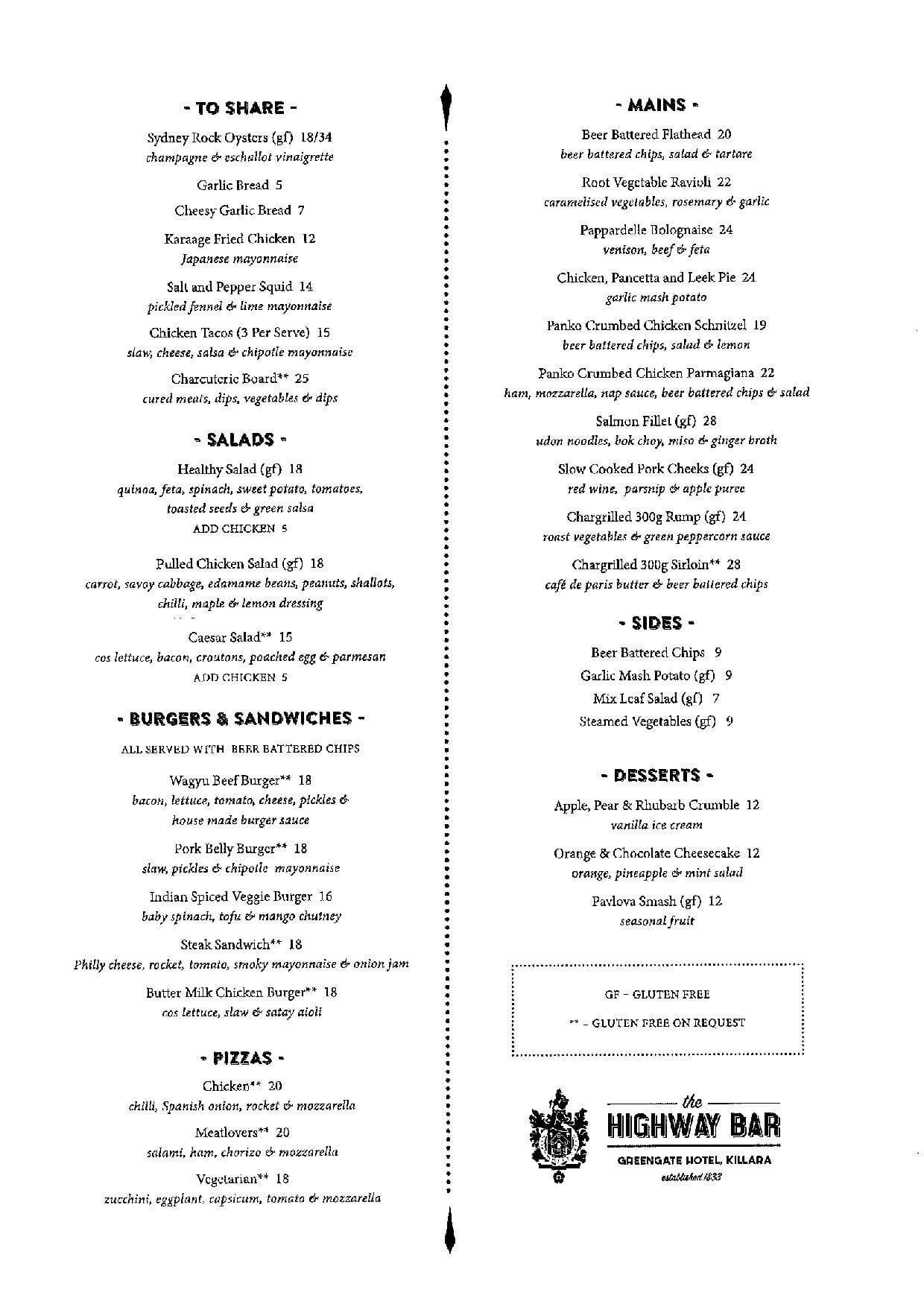 greengate hotel menu
