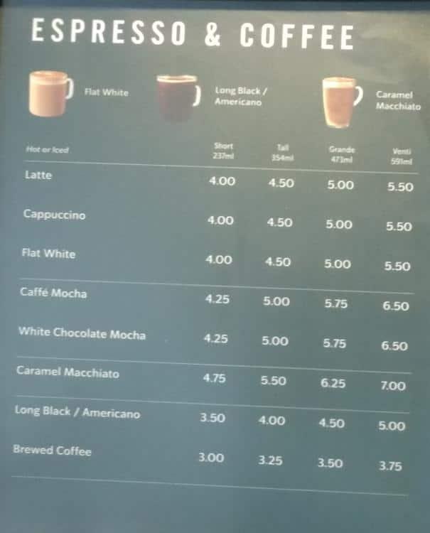 Starbucks Menu Menu For Starbucks Cbd Sydney Urbanspoon