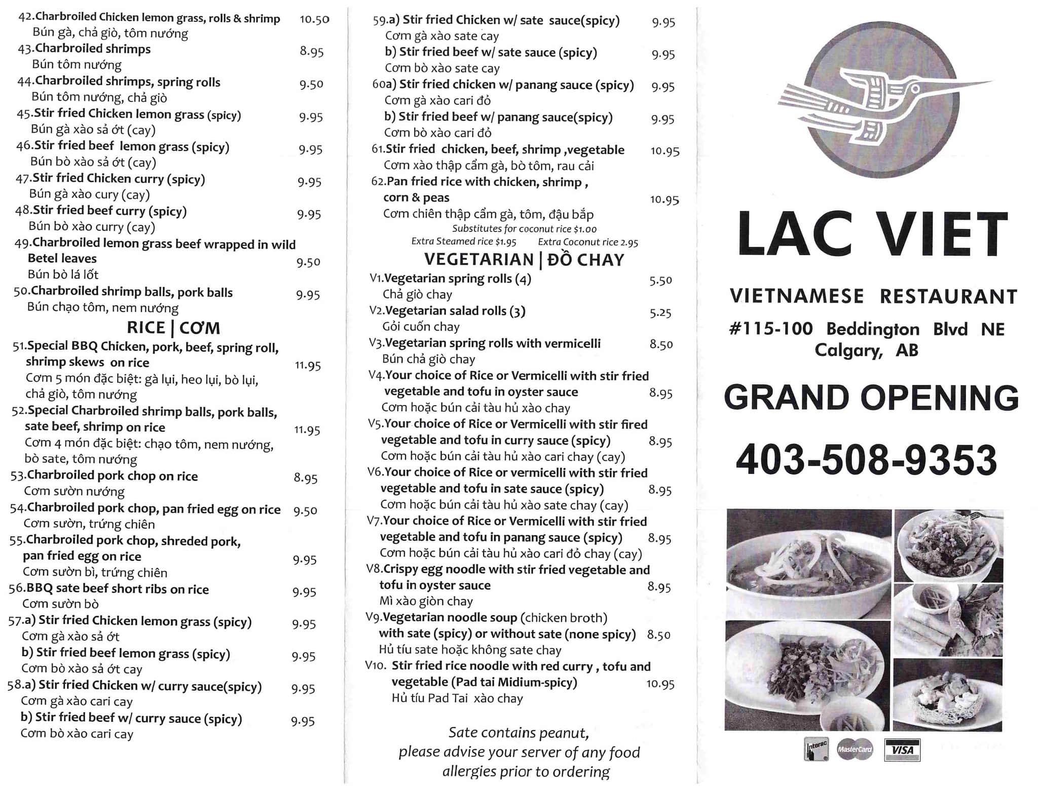 Lac Viet Vietnamese Restaurant Beddington Heights Menu