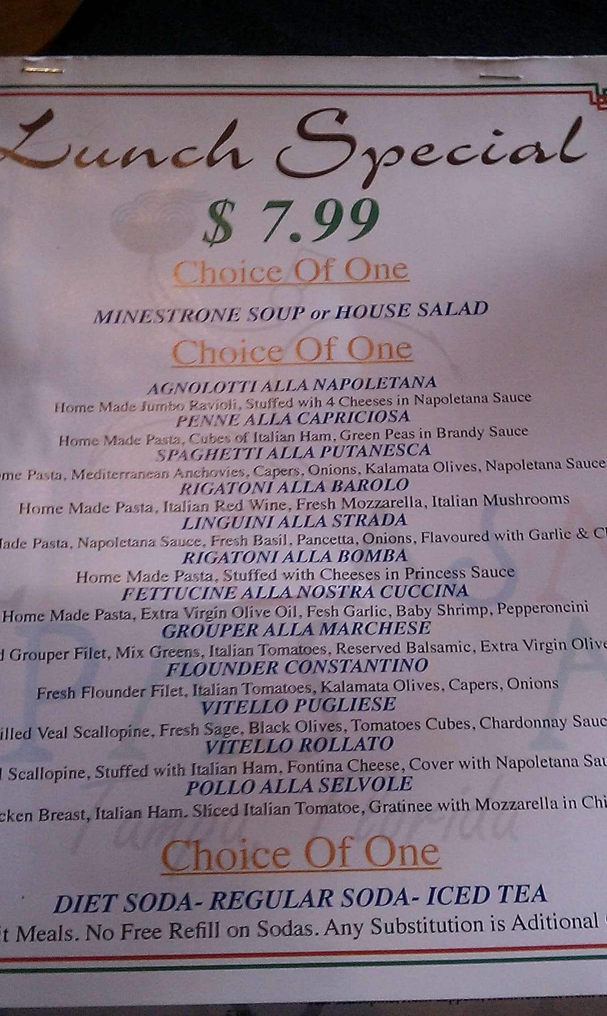 La casa della pasta a tampa bay foto del menu con prezzi for Nuove planimetrie e prezzi della casa