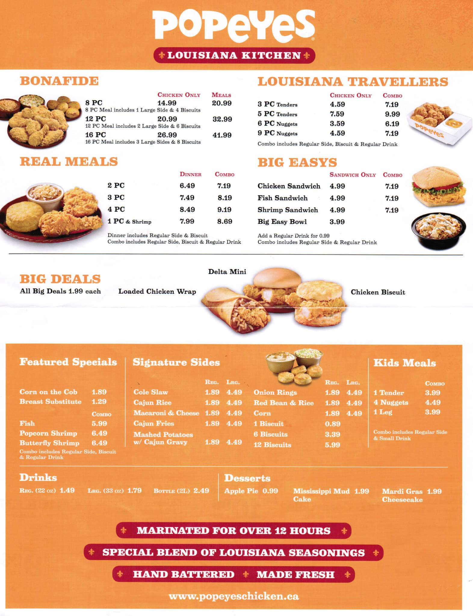 Popeyes louisiana kitchen menu popeyes chicken menu and for Cost of a new kitchen canada
