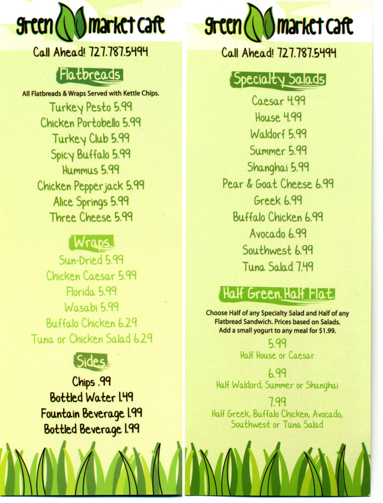 Green Street Cafe Menu