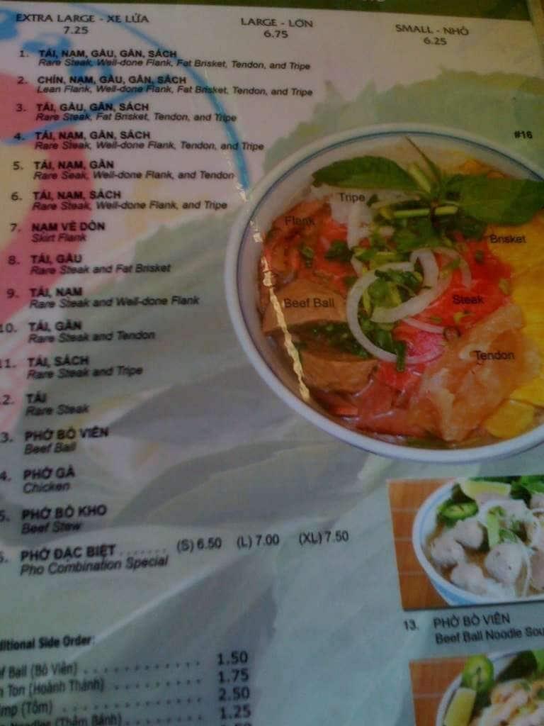 Menu At Pho Bac Hoa Viet Restaurant Sacramento Bradshaw Rd