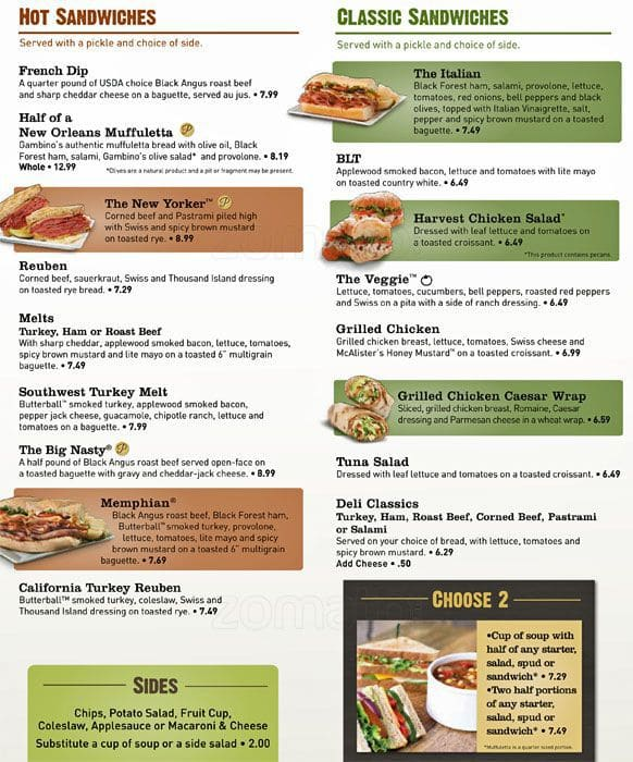 graphic about Mcalister's Printable Menu named Mcalisters Lunch Menu Equivalent Keyword phrases Rules