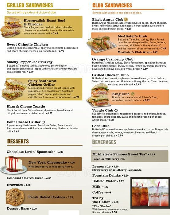 image relating to Mcalister's Deli Printable Menu named Mcalisters Lunch Menu Comparable Key terms Strategies
