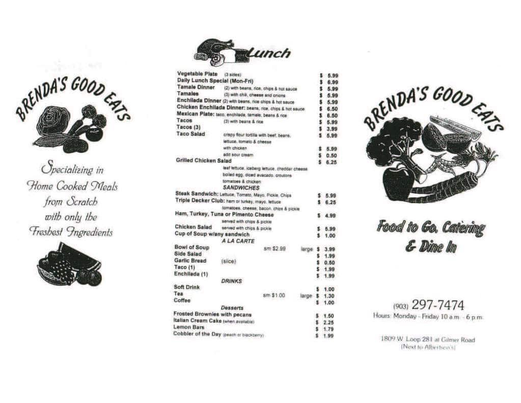 1809 Menu brenda's good eats menu, menu for brenda's good eats
