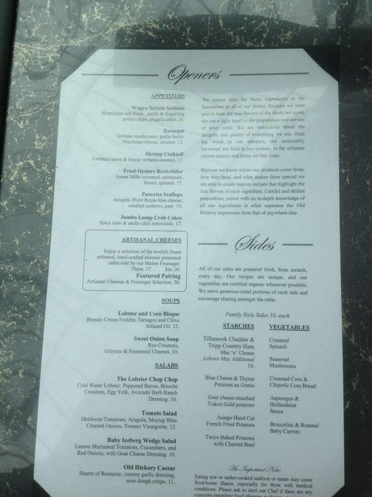 Old Hickory Traditional Steakhouse Haysboro Menu