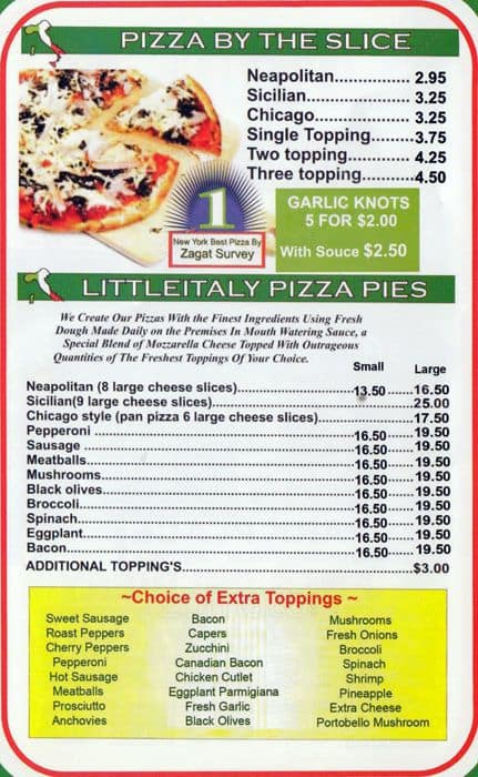 Menu At Little Italy Pizza Pizzeria New York City