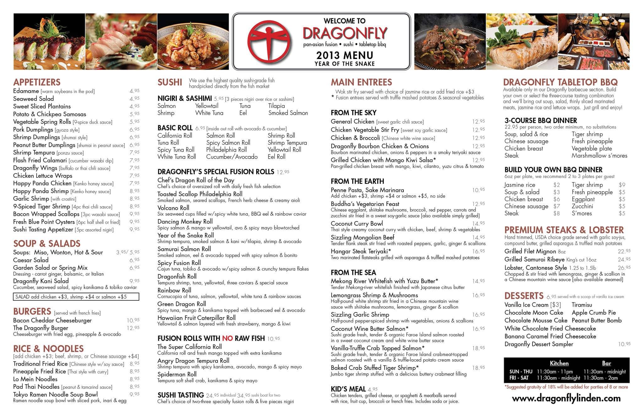 Dragonfly Restaurant Menu, Menu for Dragonfly Restaurant, Linden ...