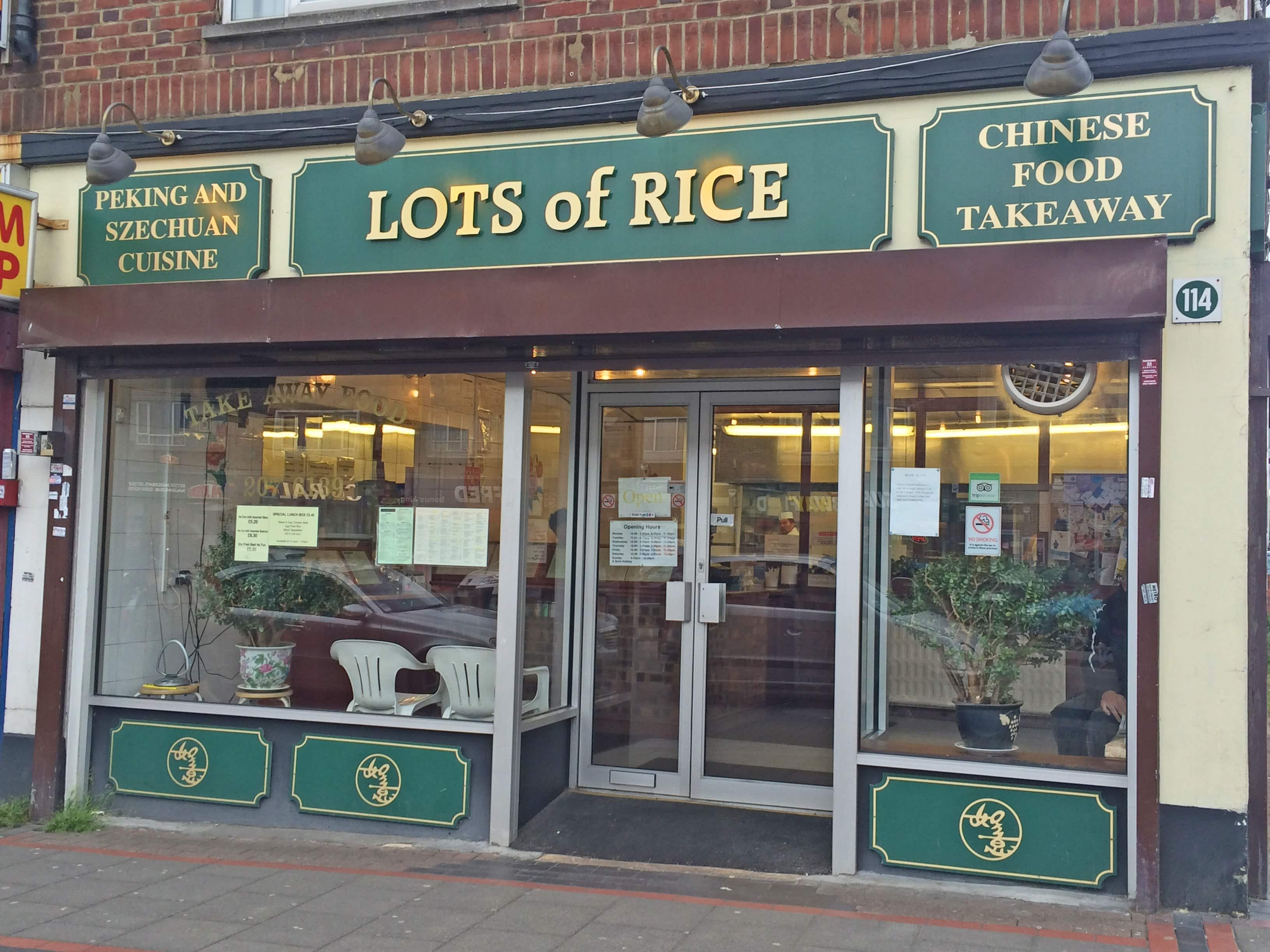 Lots of Rice Menu, Menu for Lots of Rice, Borehamwood, London