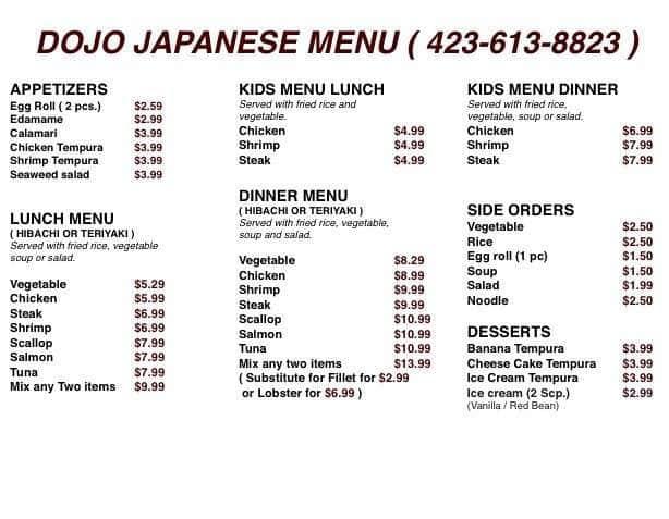 Dojo Japanese Restaurant Menu Menu For Dojo Japanese Restaurant