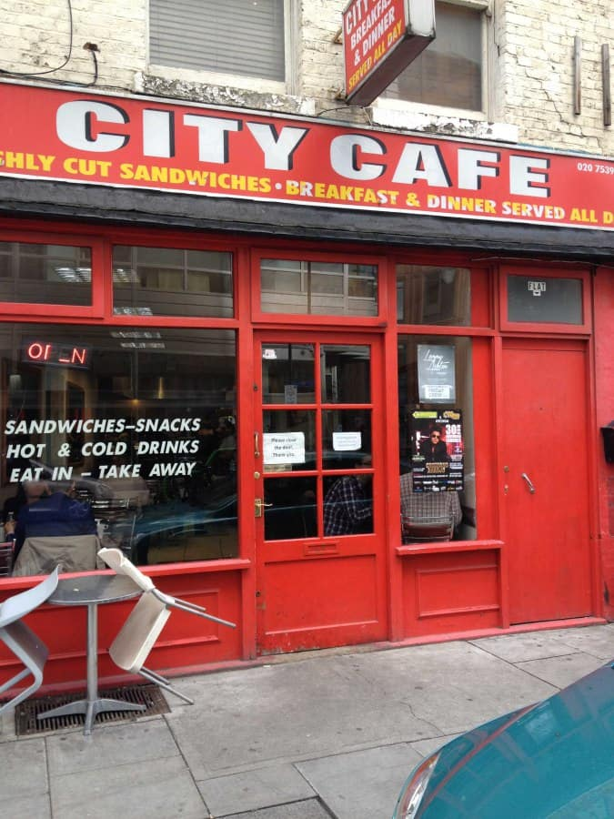 Shoreditch London Uk: City Cafe, Worship Street, Shoreditch, London