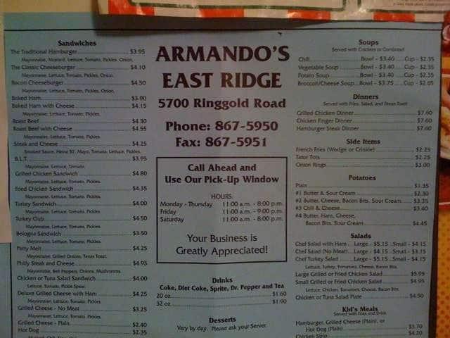 Armando S Menu For East Ridge Chattanooga Urbanspoon Zomato