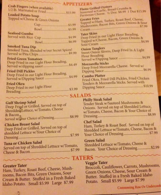 Clear Springs Restaurant Menu