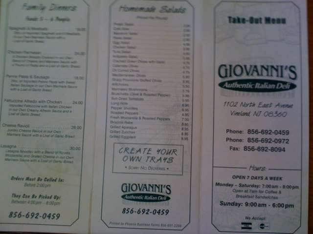 more photos ddc08 d75ef Giovanni's Italian American, Vineland, Vineland - Urbanspoon ...