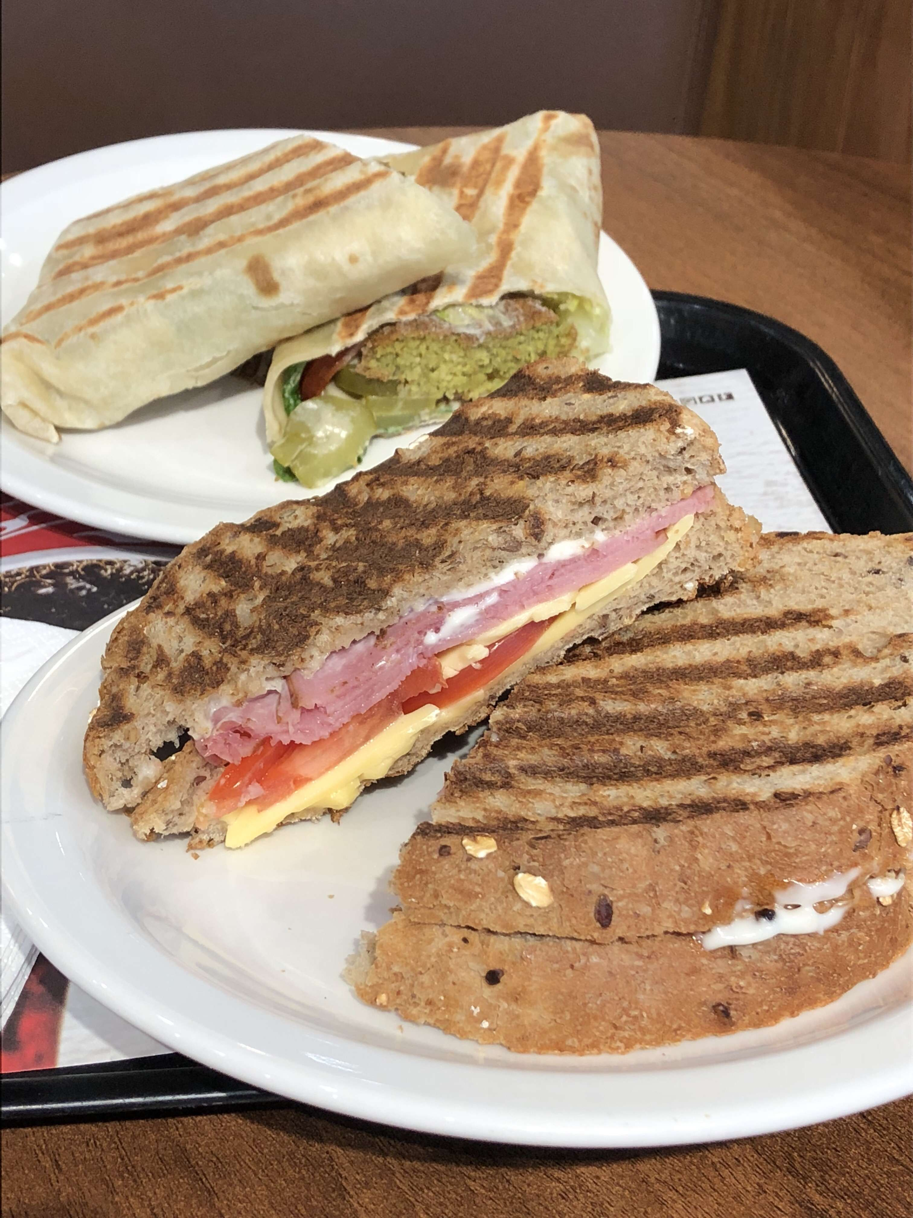 Turkey and cheese AED 22 and falafel wrap AED 22