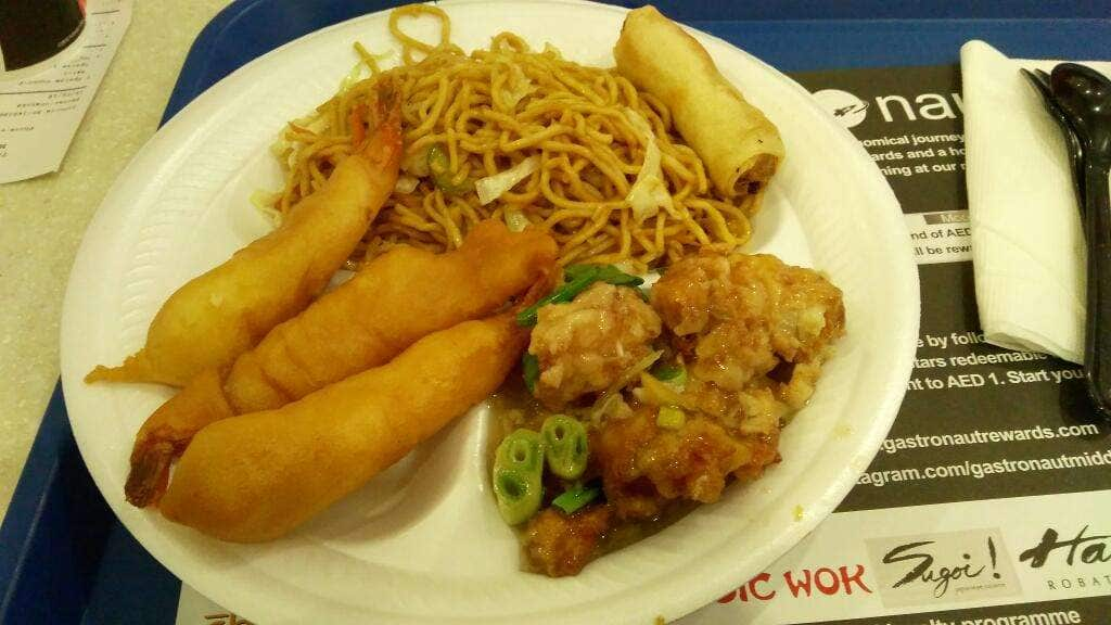 Sea food Combo (Prawns Tempura, Fish Chilly, Dragon Roll and Veg. Noodles)