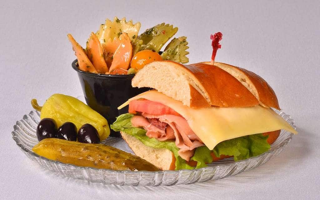 Captivating Delectables Fine Catering,   Sandwich With Bowtie Pesto Pasta Salad   Delectables  Fine Catering,