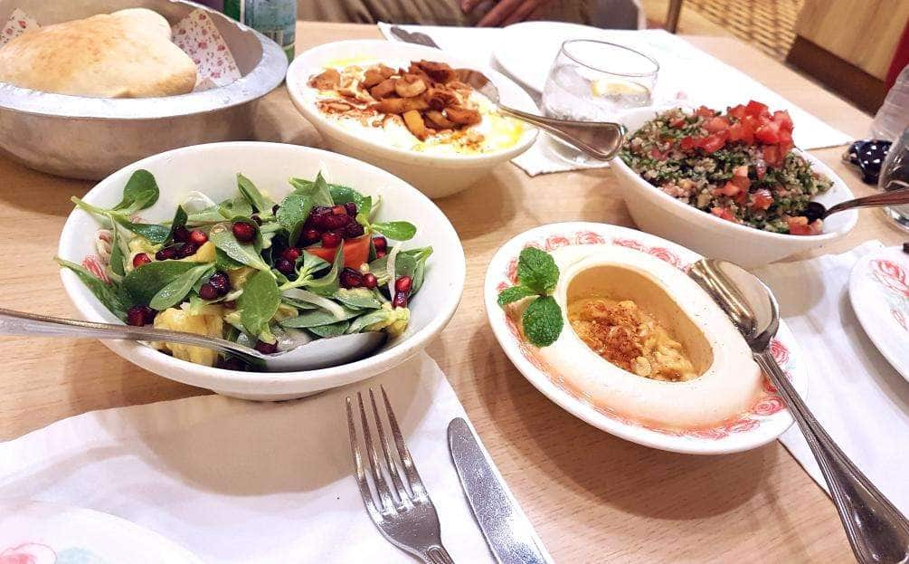 #Bread Basket #Light Mountain Salad #Fatteh #Hummus #Quinoa Tabbouleh