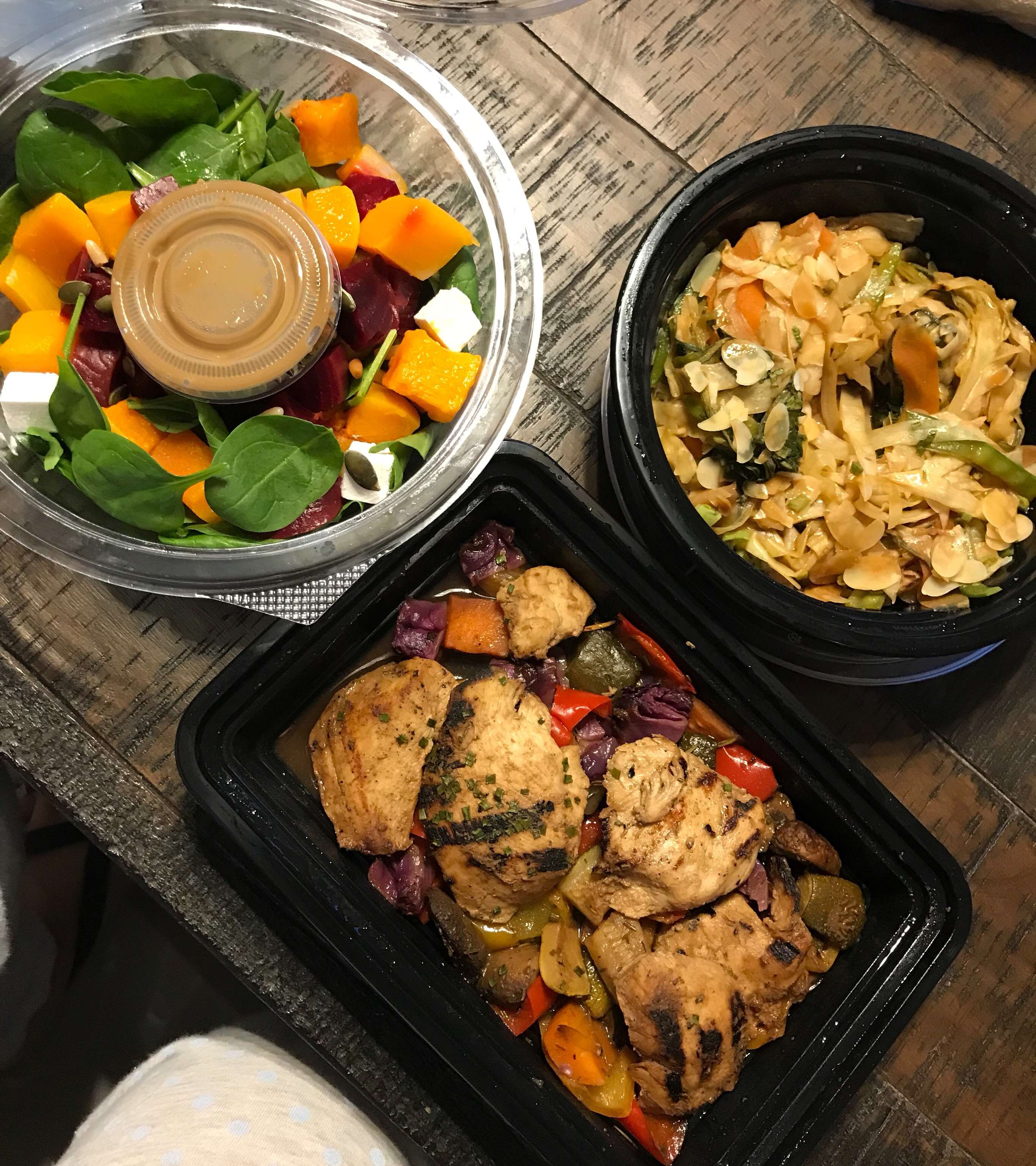 Pumpkin & feta salad - Grilled Chicken and veggies - Japanese Sesame Chicken.